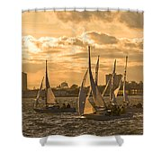 Sailboats On Lake Ontario At Sunset Shower Curtain