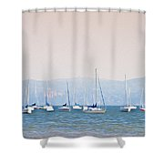 Sailboats On The Hudson - Nyack New York Shower Curtain
