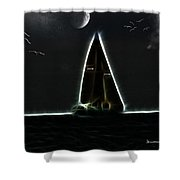 Sailing At Midnight Shower Curtain