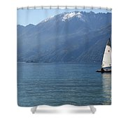 Sailing Boat And Mountain Shower Curtain