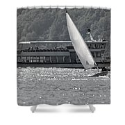 Sailing Boat And Passenger Boat Shower Curtain
