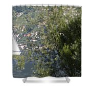 Sailing Boat And Trees Shower Curtain
