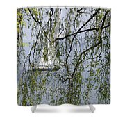 Sailing Boat Behind Tree Branches Shower Curtain