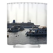 Sailing Boats And A Large Yacht In The Harbour At Sharm El Sheikh Shower Curtain