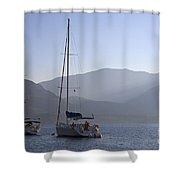 Sailing Boats At Dawn In Karacaoren Bay Shower Curtain