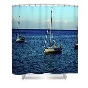 Sailing The Blue Waters Of Greece Shower Curtain