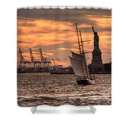 Sailing To Liberty  Shower Curtain