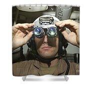 Sailor Adjusts His Anavs-9 Night Vision Shower Curtain