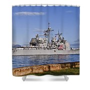 Sailors Aboard The Guided-missile Shower Curtain