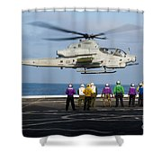 Sailors And Marines Watch An Ah-1z Shower Curtain