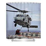 Sailors Hook An Ammunition Pallet To An Shower Curtain