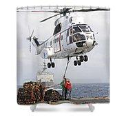 Sailors Hook Up A Pole Pendant Shower Curtain by Stocktrek Images