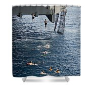 Sailors Jump To The Sea During A Swim Shower Curtain
