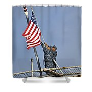 Sailors Lower The National Ensign Shower Curtain
