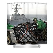 Sailors Move Supplies On The Flight Shower Curtain