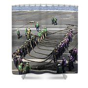 Sailors Participate In A Barricade Shower Curtain