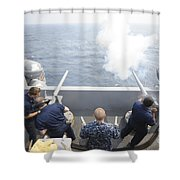 Sailors Perform A 21-gun Salute Aboard Shower Curtain by Stocktrek Images