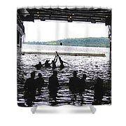 Sailors Play Football During A Swim Shower Curtain