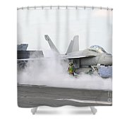 Sailors Prepare An Fa-18f Super Hornet Shower Curtain