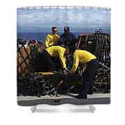 Sailors Prepare Pallets Of Cargo Aboard Shower Curtain