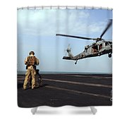 Sailors Prepare To Board An Mh-60s Sea Shower Curtain