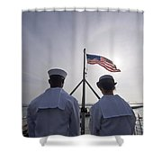 Sailors Stand By To Lower The Ensign Shower Curtain