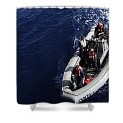 Sailors Stand Watch On A Rigid-hull Shower Curtain