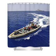 Sailors Transit An Inflatable Boat Shower Curtain