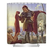 Saint Martin And The Beggar Shower Curtain