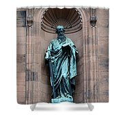 Saint Peter Statue - Historic Philadelphia Basilica Shower Curtain