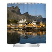 Sakrisoy Fishermen's Village Shower Curtain