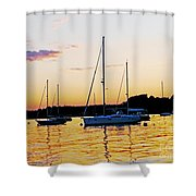 Salem Harbor Amber Sunset Shower Curtain