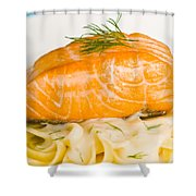 Salmon Steak On Pasta Decorated With Dill Closeup Shower Curtain