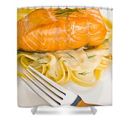 Salmon Steak On Pasta Decorated With Dill Shower Curtain