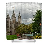Salt Lake City Temple Grounds Shower Curtain