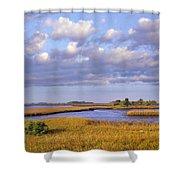 Saltwater Marshes At Cedar Key Florida Shower Curtain by Tim Fitzharris