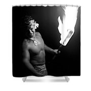 Samoan Chief With Torch Shower Curtain