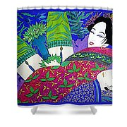 Samurai And Geisha Pillowing Shower Curtain