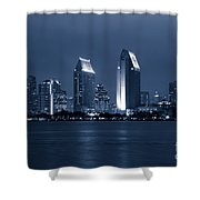 San Diego At Night Shower Curtain by Paul Velgos
