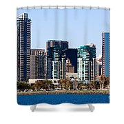 San Diego California Skyline Shower Curtain