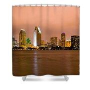 San Diego Skyline At Night Shower Curtain by Paul Velgos