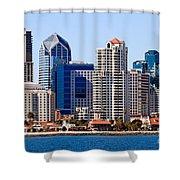 San Diego Skyline Photo Shower Curtain by Paul Velgos