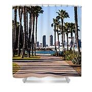 San Diego Skyline With Coronado Island Bayshore Bikeway Shower Curtain