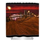 San Francisco Red Sky Pier Shower Curtain