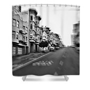 San Francisco Side Street-black And White Shower Curtain
