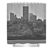 San Francisco Skyline-black And White Shower Curtain