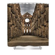 San Galgano  - A Ruin Of An Old Monastery With No Roof Shower Curtain