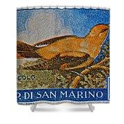 San Marino 1 Lire Stamp Shower Curtain