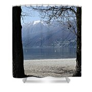 Sand Beach On An Alpine Lake Shower Curtain