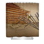 Sand Fence Falling Down On The Beach Shower Curtain